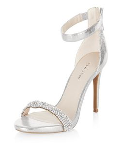 Silver Embellished Strap Heeled Sandals  | New Look