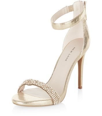 Sandalo  donna Gold Embellished Strap Heeled Sandals