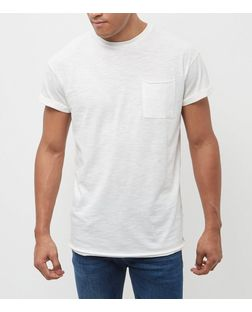 Cream Raw Hem Short Sleeve T-Shirt | New Look