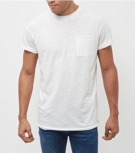 Cream Raw Hem T-Shirt | New Look