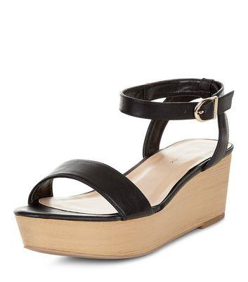 Sandalo  donna Black Ankle Strap Flatform Sandals
