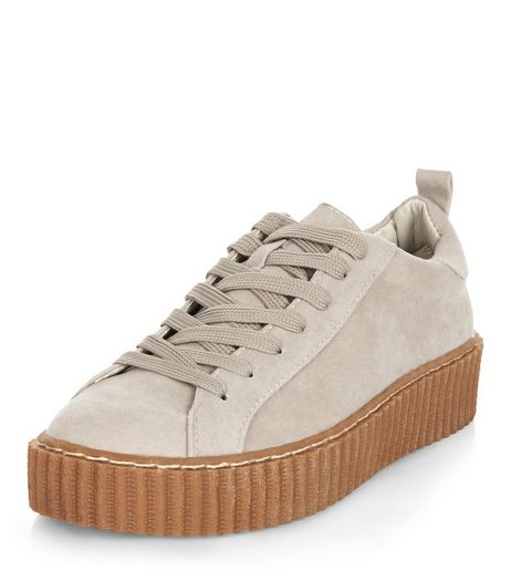 Grey Lace Up Creeper Plimsolls  | New Look