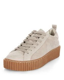 Grey Suede Lace Up Creeper Plimsolls  | New Look