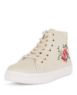 Cream Flower Embroidered Hi-Top Plimsolls  | New Look