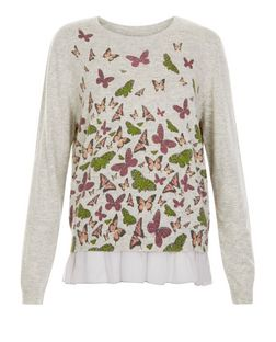 Blue Vanilla Grey Butterfly Print Chiffon Trim Jumper  | New Look