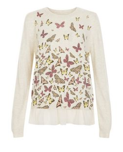 Blue Vanilla Stone Butterfly Print Chiffon Trim Jumper | New Look