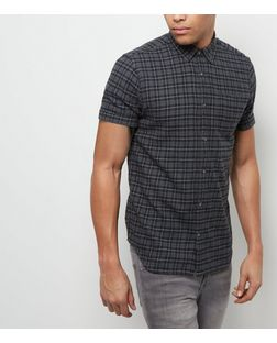 Grey Check Single Pocket Roll Sleeve Shirt  | New Look