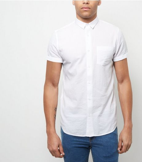 White Single Pocket Roll Sleeve Shirt  | New Look