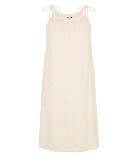 Cream Chevron Trim High Neck Tunic Dress  | New Look