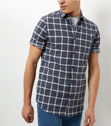 Blue Check Short Sleeve Shirt | New Look