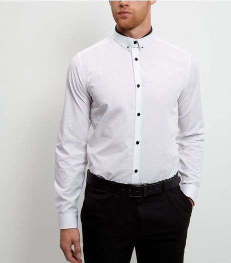 White Contrast Trim Long Sleeve Shirt | New Look