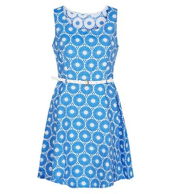 Mela Blue Abstract Print Belted Dress