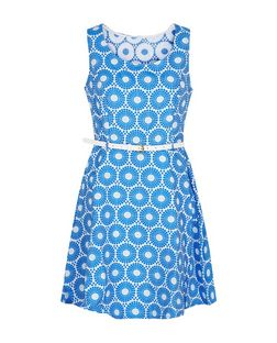 Mela Blue Abstract Print Belted Dress | New Look