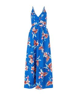 Mela Blue Floral Print Wrap Front Maxi Dress | New Look