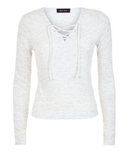 Pale Grey Fine Knit Ribbed Lace Up Long Sleeve Top  | New Look