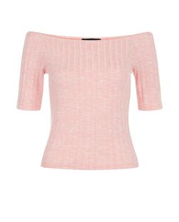 Bright Pink Fine Knit Ribbed Bardot Neck Top  | New Look