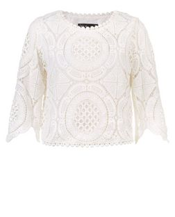 Mela White Broderie Lace Crop Top | New Look