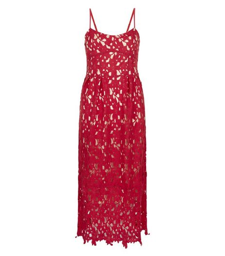 Mela Red Lace Midi Dress | New Look