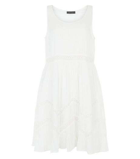 Cream Lace Trim Smock Dress  | New Look
