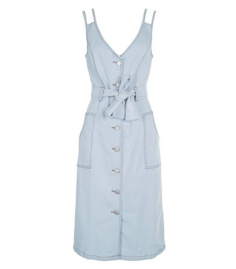 Blue Denim Double Strap Button Front Midi Dress  | New Look