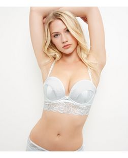 Cream Bridal Satin Lace Boost Longline Bra | New Look