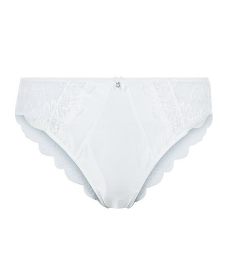 Cream Bridal Sateen Lace Brazilian Briefs | New Look