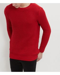 Red Fisherman Knit Jumper  | New Look