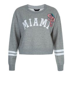 Teens Grey Miami 96 Print Sweater | New Look