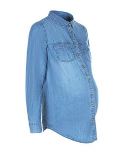 Maternity Blue Long Sleeve Denim Shirt | New Look