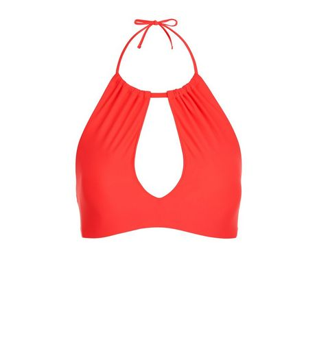Red Cut Out High Neck Bikini Top | New Look