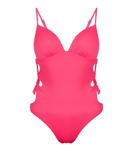 Pink Lace Up Side Swimsuit | New Look