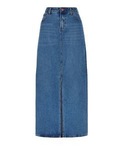 Blue Split Front Maxi Denim Skirt  | New Look