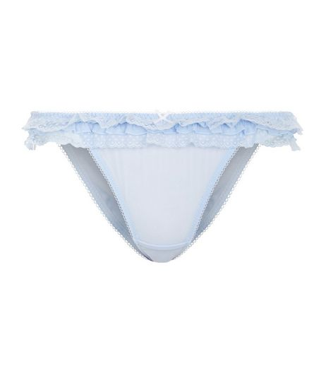 Blue Lace Frill Trim Mesh Briefs | New Look