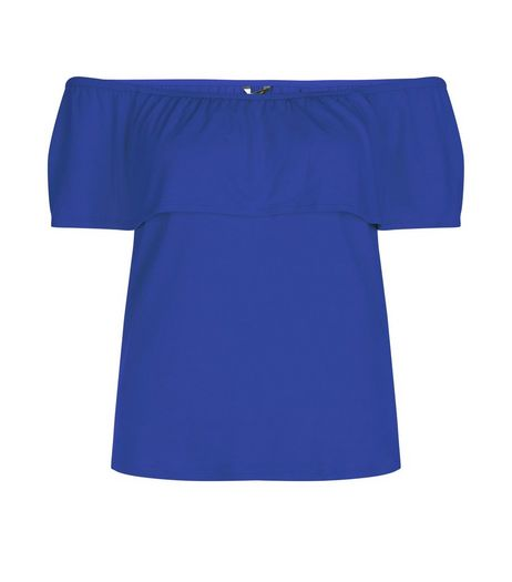 Blue Ruffle Trim Bardot Neck Top  | New Look
