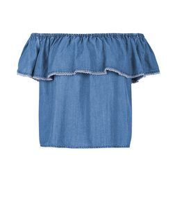 Blue Denim Frill Crochet Trim Bardot Neck Top  | New Look
