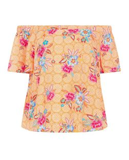 Orange Floral Tile Print Bardot Neck Top  | New Look