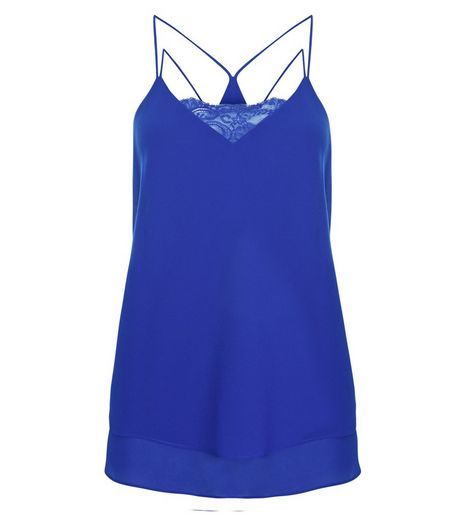 Blue Lace Trim Double Strap Layered Cami  | New Look