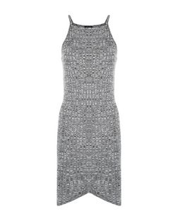 Grey Marl Ribbed Wrap Front Mini Dress  | New Look