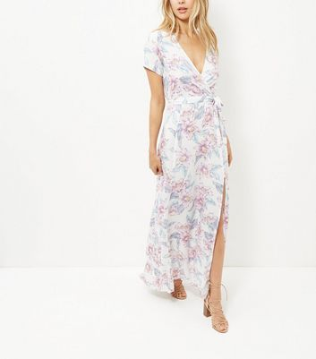Product photo of White floral print tie waist maxi dress