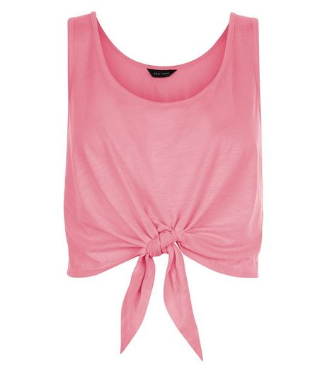Pink Tie Front Vest  | New Look