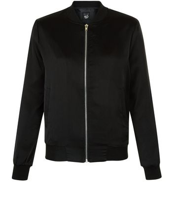 Teens Black Sateen Bomber Jacket