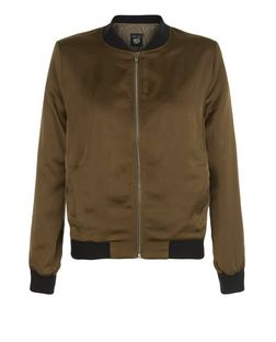 Teens Khaki Sateen Bomber Jacket | New Look