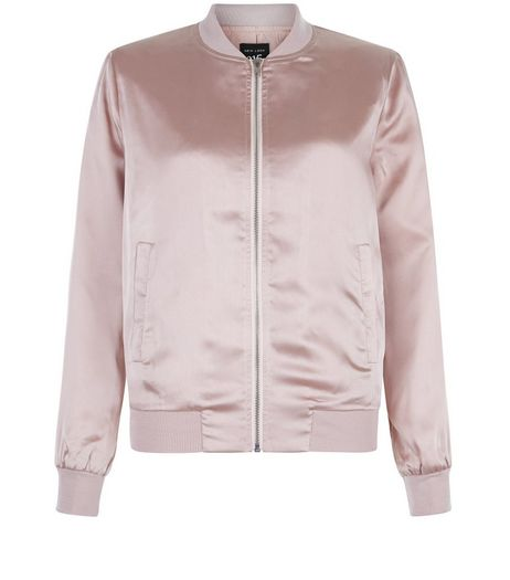 Teens Shell Pink Sateen Bomber Jacket | New Look