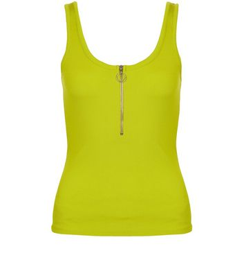 Product photo of Lime ribbed zip front vest