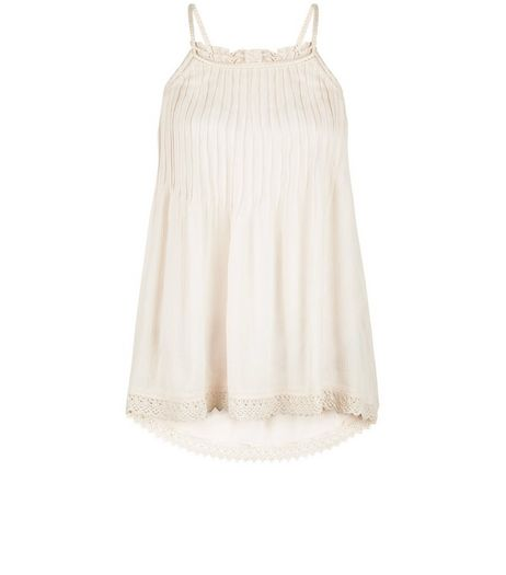 Shell Pink Pleated Crochet Trim Cami  | New Look