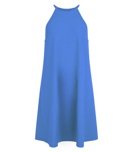Blue High Neck Swing Dress | New Look