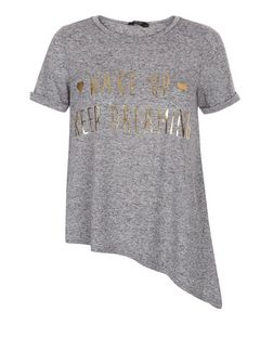Teens Grey Wake Up Keep Dreaming Asymmetric T-Shirt | New Look