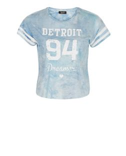 Teens Blue Tie Dye Detroit 94 Print T-Shirt | New Look