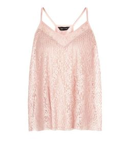 Pink Lace Pleated Cami  | New Look