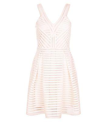 Product photo of Shell pink mesh stripe v neck skater dress